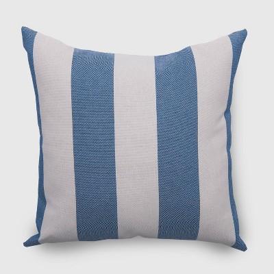 Square Cabana Stripe Outdoor Pillow Navy - Threshold™