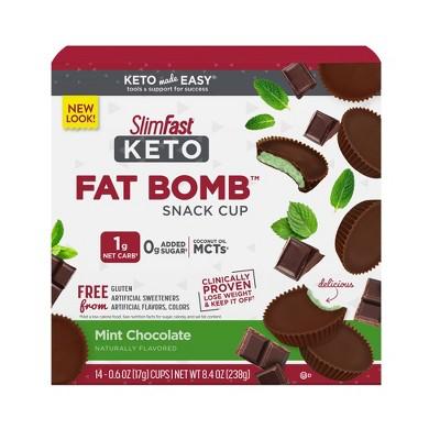 SlimFast Keto Fat Bomb Snack Cup - Mint Chocolate - 14ct