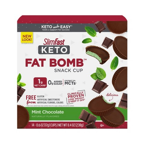 SlimFast Keto Fat Bomb Snack Cup - Mint Chocolate - 14ct - image 1 of 4