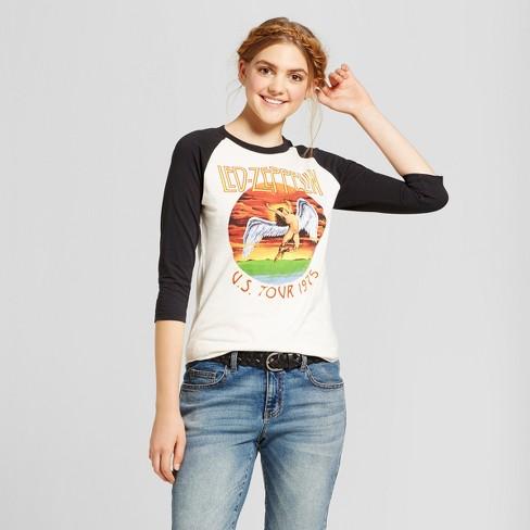 3d97a28d Women's Led Zeppelin 3/4 Sleeve Rock Raglan Graphic T-Shirt (Juniors')  White/Black XS