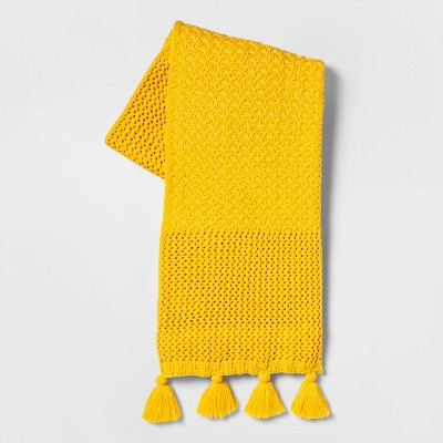 Chunky Knit with Tassels Throw Blanket Yellow - Opalhouse™