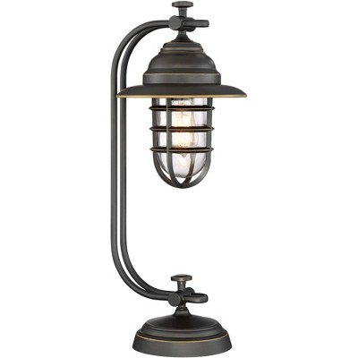 Franklin Iron Works Industrial Desk Table Lamp Oil Rubbed Bronze Cage Glass Shade Edison LED Filament for Bedroom Office