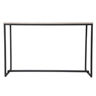 Thorpe Long Reclaimed Wood Console Table Gray/Black - Aiden Lane