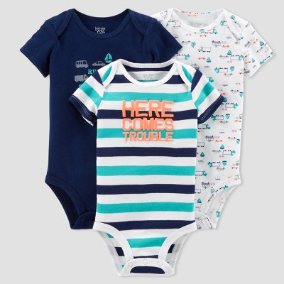 Baby Boys' 3pk Transportation Bodysuit Set - Just One You® made by carter's Navy/Teal 3M