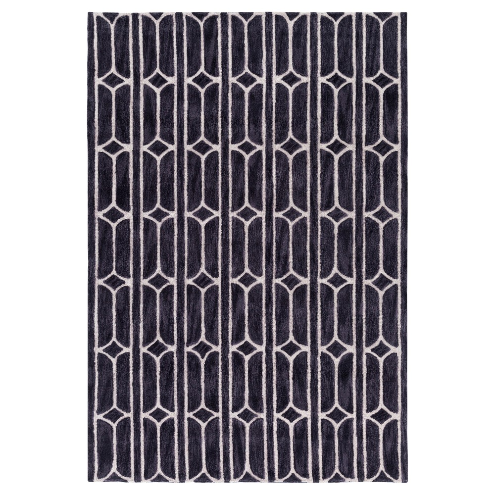 Aravinda Area Rug - Medium Gray, Black - (5' x 7'6) - Surya