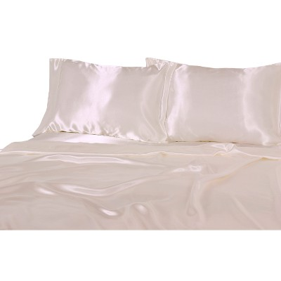 Luxury Satin 100% Polyester Woven Sheet Set Queen Ivory