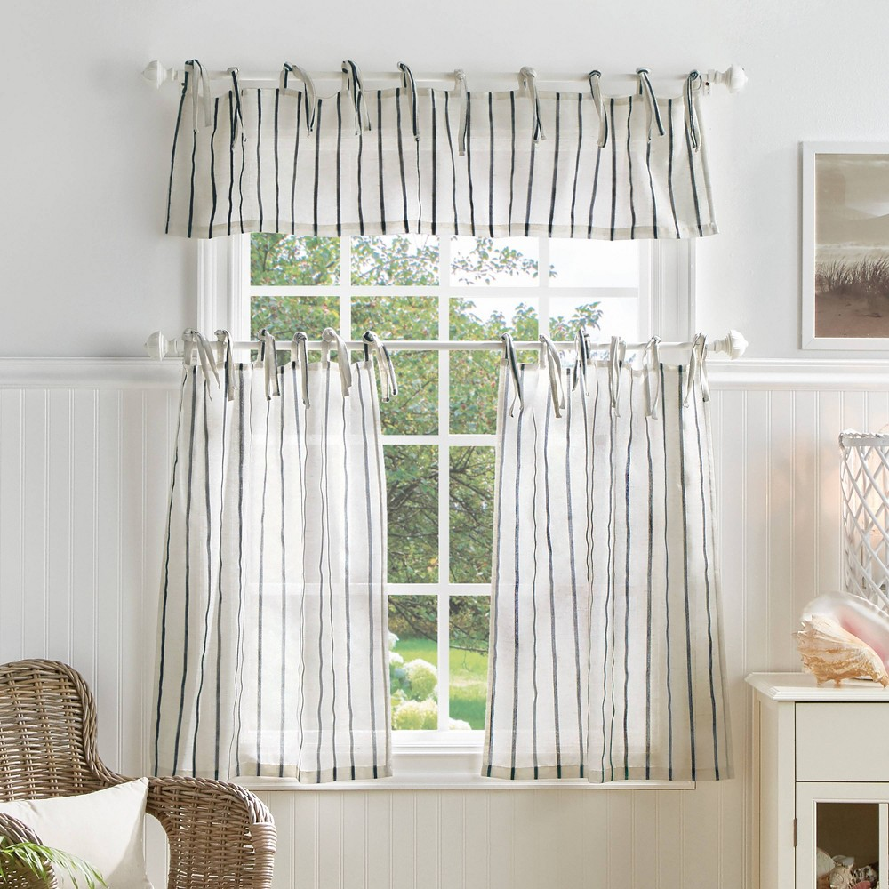 "Image of ""36""""x56"""" Laguna Striped Sheer Valence and Curtain Set Navy - Martha Stewart"""