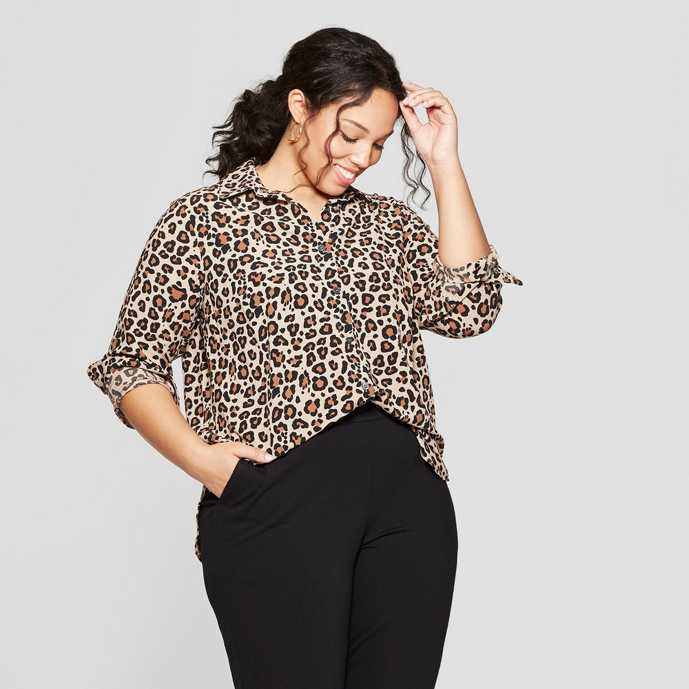 Women's Plus Size Leopard Print Long Sleeve Collared Button-Down Blouse - Ava & Viv Brown 3X
