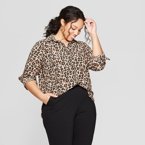 d5c8a14c19 Women s Plus Size Leopard Print Long Sleeve Collared Button-Down Blouse -  Ava   Viv™ Brown