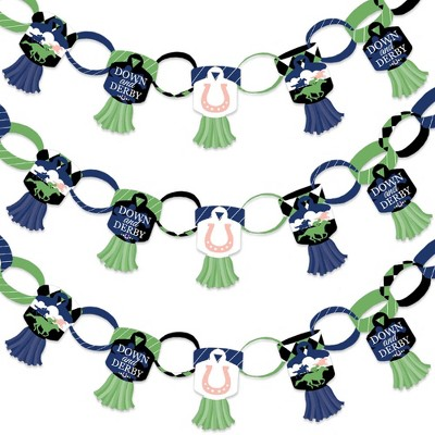 Big Dot of Happiness Kentucky Horse Derby - 90 Chain Links and 30 Paper Tassels Decoration Kit - Horse Race Party Paper Chains Garland - 21 feet