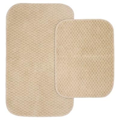 2pc Cabernet Nylon Washable Bath Rug Set Linen - Garland