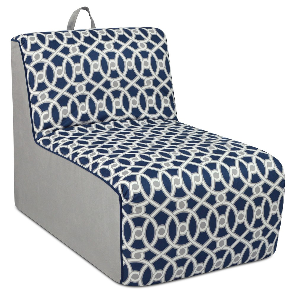 Tween Foam Lounger With Handle - Loopy Navy With Pebbles Side Gray & White With Navy Welt Trim - Kangaroo Trading Co.