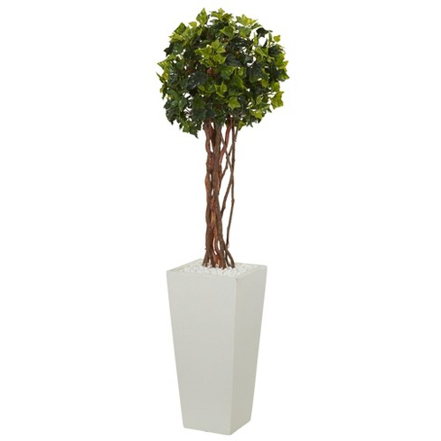 3ft English Ivy Artificial Tree In White Tower Planter - Nearly Natural - image 1 of 1