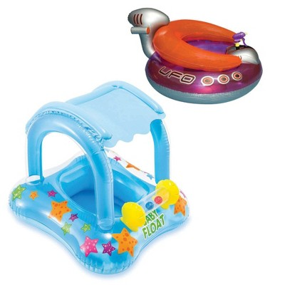 Inflatable UFO Lounge Chair Float Bundle w/ My Baby Float Inflatable Kiddie Raft