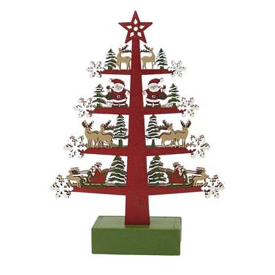 "Christmas 10.5"" Table Top Tree W/Characters Santa Reindeer Tres  -  Decorative Figurines"