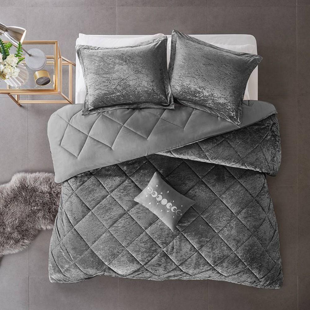 4pc Full Queen Alyssa Velvet Comforter Set Gray