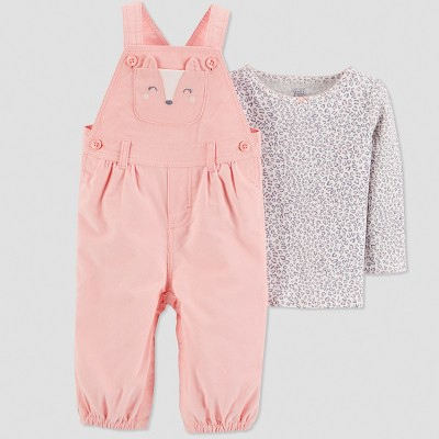 Baby Girls' 2pc Fox Overall Set - Just One You® made by carter's Peach 6M