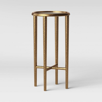 Alexandria Round Forged Brass Drink Table with Glass Top - Threshold™