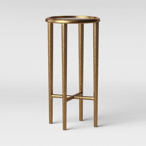 Alexandria Round Forged Brass Drink Table with Glass Top - Threshold™ - image 1 of 3