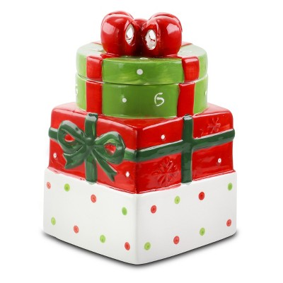 Gibson Home Christmas Estate 7.5 Inch Gift Box Holiday Cookie Jar