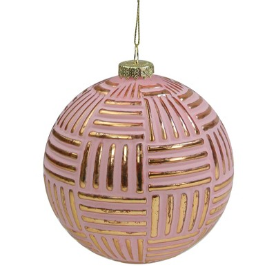 "Northlight Pink and Gold Striped Matte Glass Christmas Ball Ornament 4"" (100mm)"