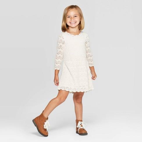 Toddler Girls' Crochet Dress - Cat & Jack™ Cream - image 1 of 3