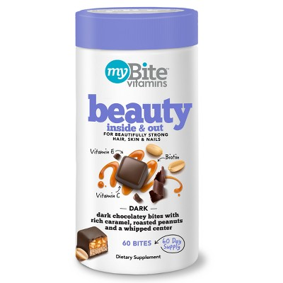 view MyBite Beauty Inside & Out Supplement Chewables - Dark Chocolatey Peanut - 60ct on target.com. Opens in a new tab.