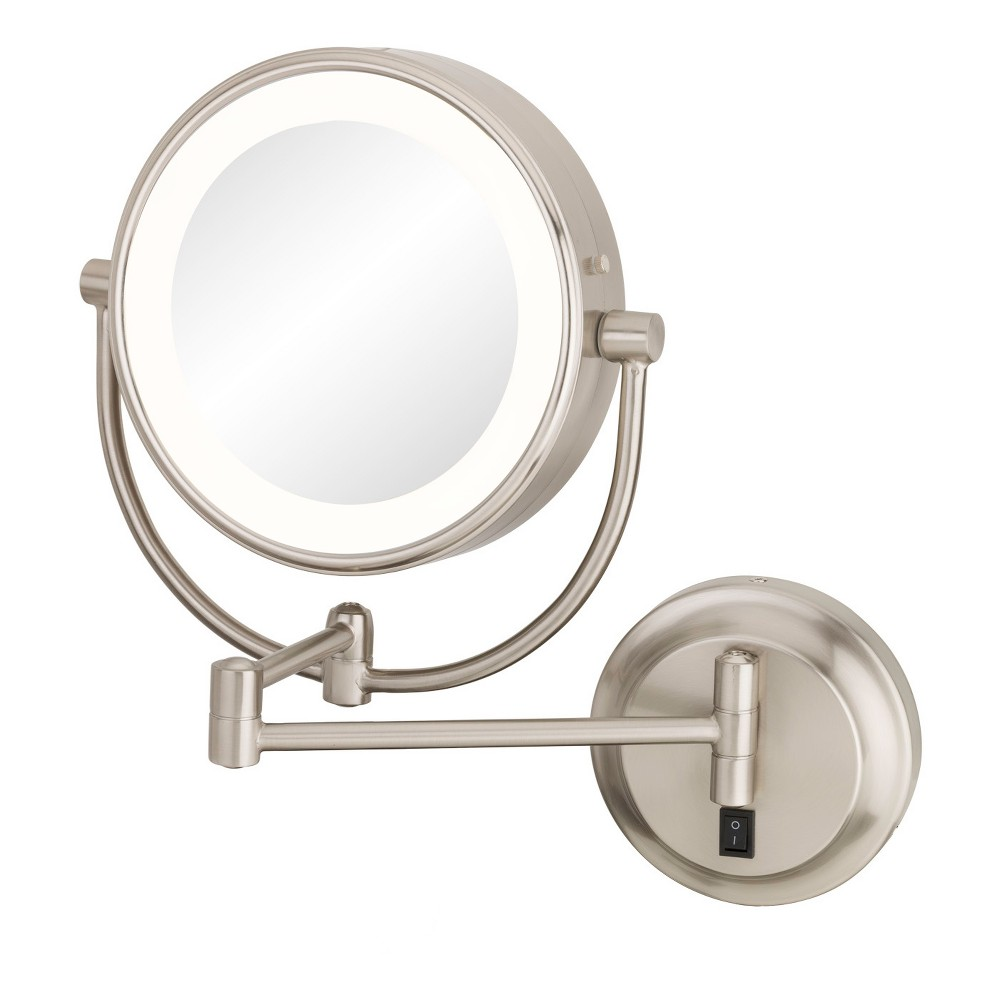 "Image of ""Aptations 5""""x1"""" Neomodern Led Lighted Freestanding Double Sided Vanity Mirror Brushed Nickel, Silver"""