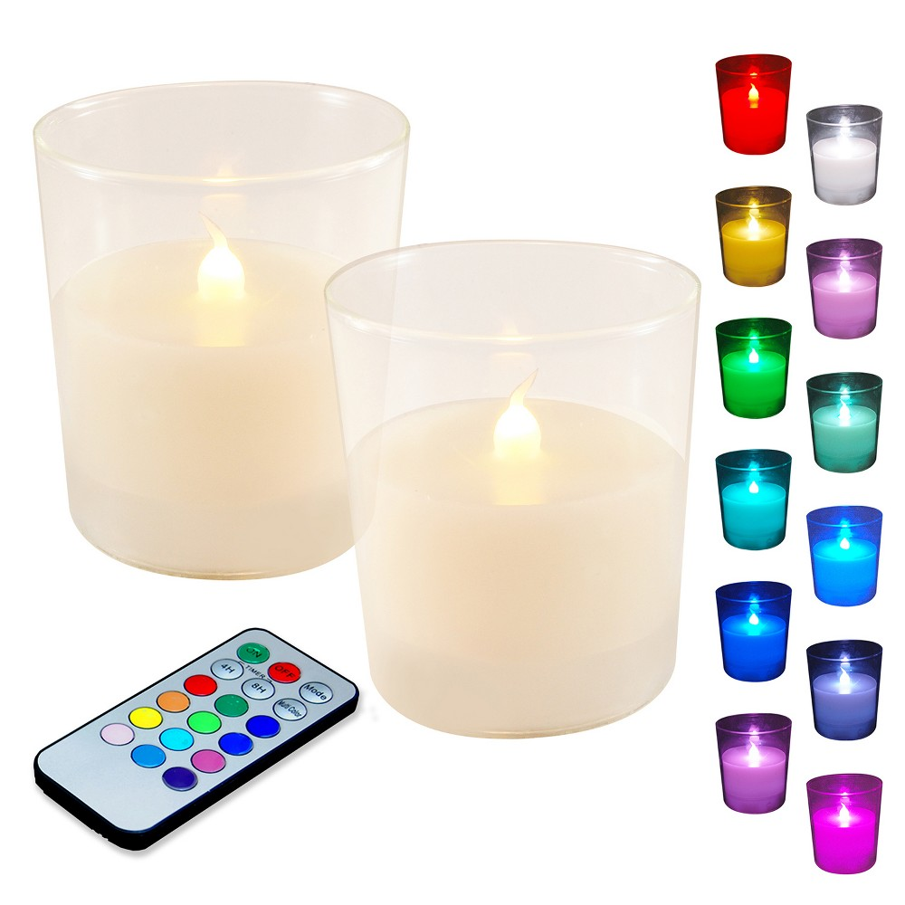 Image of 2ct LED Wax Candles Filled In Glass Holders With Remote Control And Timer