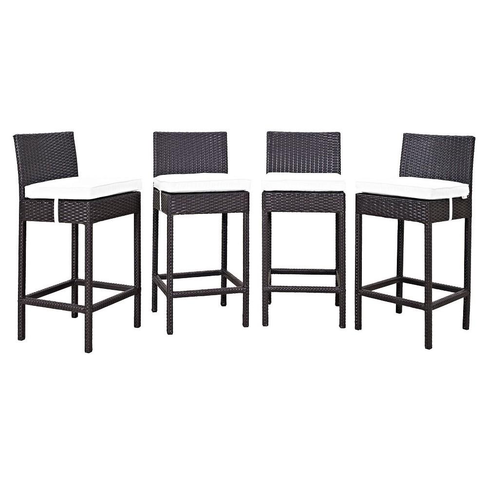 Convene 4pc All-Weather Wicker Patio Pub Chairs - Espresso/White - Modway, Green