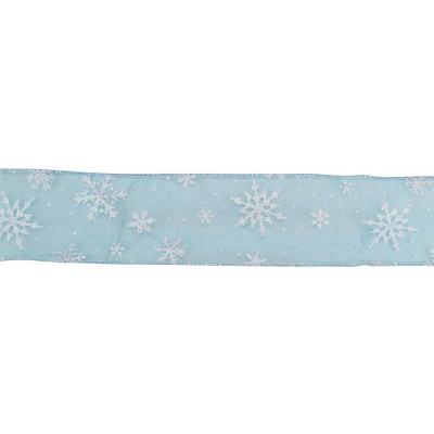 """Northlight Sparkly Blue and White Snowflake Christmas Wired Craft Ribbon 2.5"""" x 16 Yards"""
