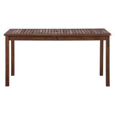 Acacia Wood Patio Simple Dining Table Espresso Brown - Saracina Home