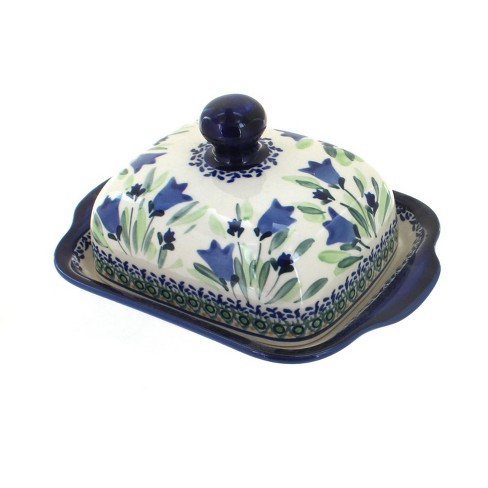 Blue Rose Polish Pottery Blue Tulip Square Butter Dish - image 1 of 1