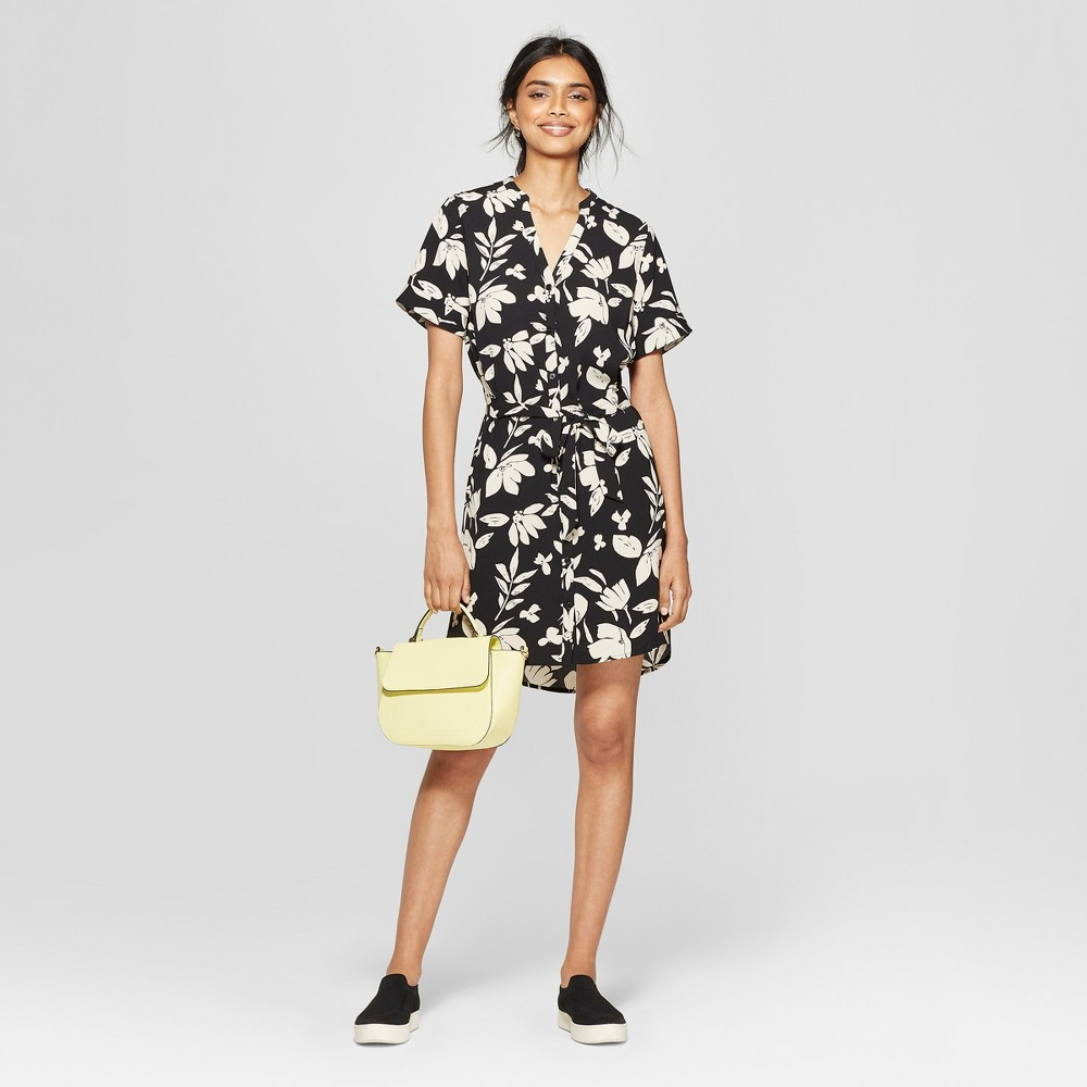 Women's Floral Print Short Sleeve Crepe Shirtdress - A New Day Black/Cream S