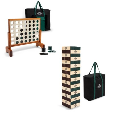 Lancaster Gaming Company 4 In A Row Wooden Game Set & Giant Tumbling Tower Set