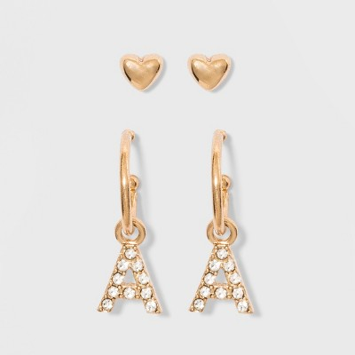 49d9d9956 SUGARFIX by BaubleBar Initial K Delicate Stud Earring Set – Gold ...