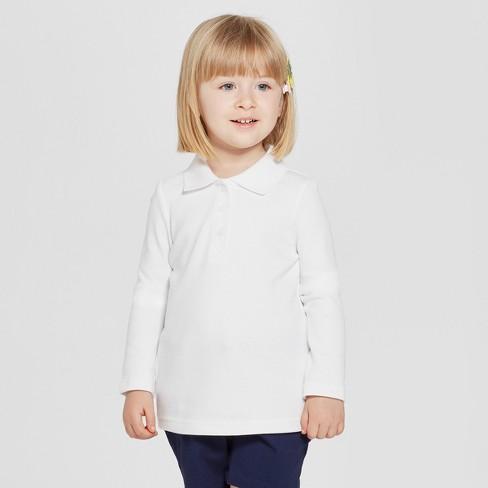 d0f766450 Toddler Girls' Long Sleeve Interlock Uniform Polo Shirt - Cat & Jack ...