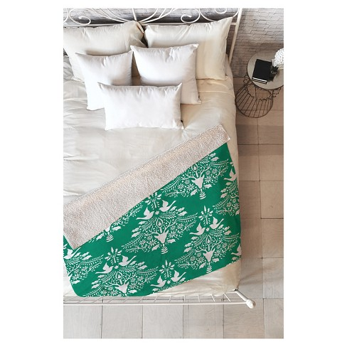 "Green Nature Jacqueline Maldonado Christmas Paper Cutting Green Sherpa Throw Blanket (50""X60"") - Deny Designs® - image 1 of 2"