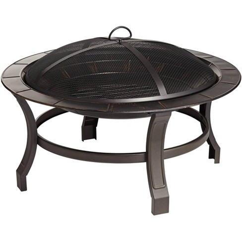 """John Timberland Iron Outdoor Fire Pit Round 30"""" Bowl Brick Steel Wood Burning With Spark Screen and Fire Poker for Outside Backyard Patio Camping - image 1 of 4"""