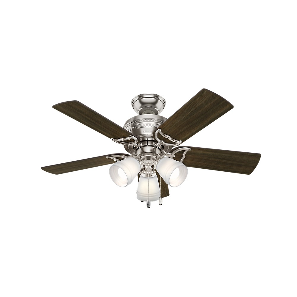 "Image of ""42"""" Prim LED Lighted Ceiling Fan Brushed Nickel - Hunter Fan"""