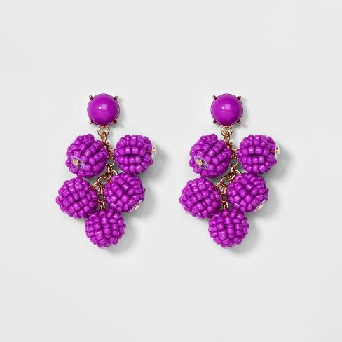 Sugarfix By Baublebar Beaded Ball Drop Earrings Purple