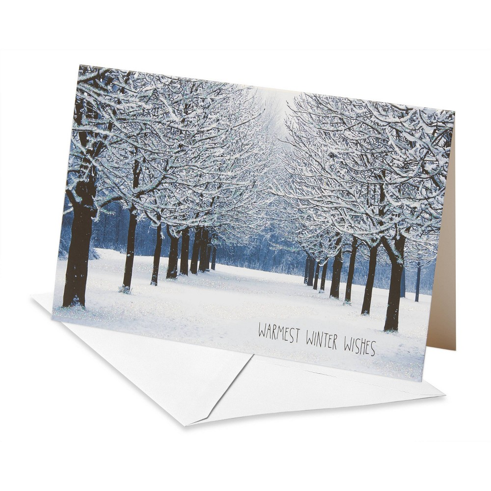 Image of 12ct American Greetings Deluxe Snowy Park Christmas Boxed Greeting Cards and White Envelopes