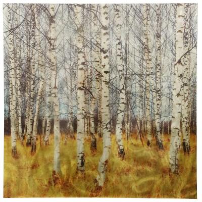 40  Trees Printed On Burnished Metal Panel Decorative Wall Art Aluminum - StyleCraft
