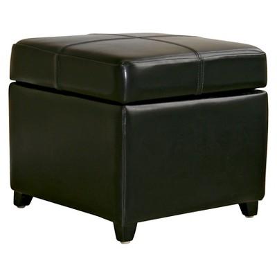 Full Leather Storage Cube Ottoman Black   Baxton Studio