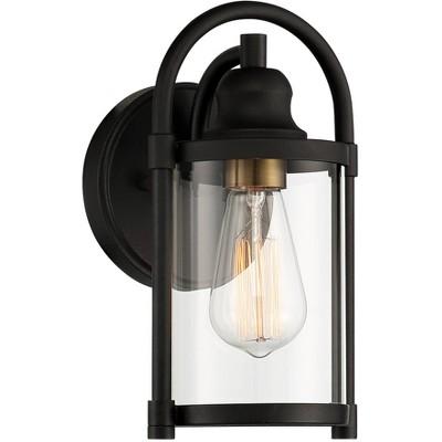 """John Timberland Avani 10 1/4"""" High Black and Brass Outdoor Wall Light"""