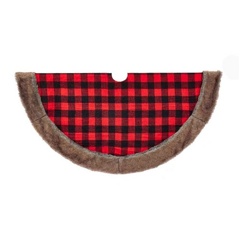 "48"" Fabric Plaid Tree Skirt with Faux Fur Trim - image 1 of 1"