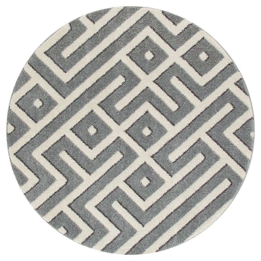 Image of Gray Abstract Woven Round Area Rug - (5') - Art Carpet