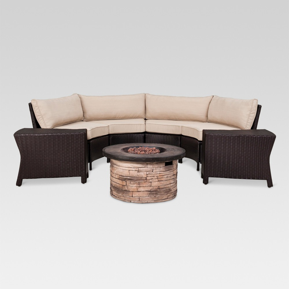 Harrison 6pc Wicker Patio Chat Set w/Fire Pit Table - Brown/Beige - Threshold