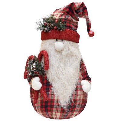 """Northlight 28"""" Red and White Plaid Sitting Santa Gnome with Candy Canes Christmas Tabletop Figurine"""