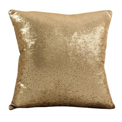 """18""""x18"""" Sirun Sequin Mermaid Design Throw Pillow Gold - Saro Lifestyle"""